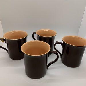 NWOT 4 G G Brown & Mocha Gold Trim Mugs